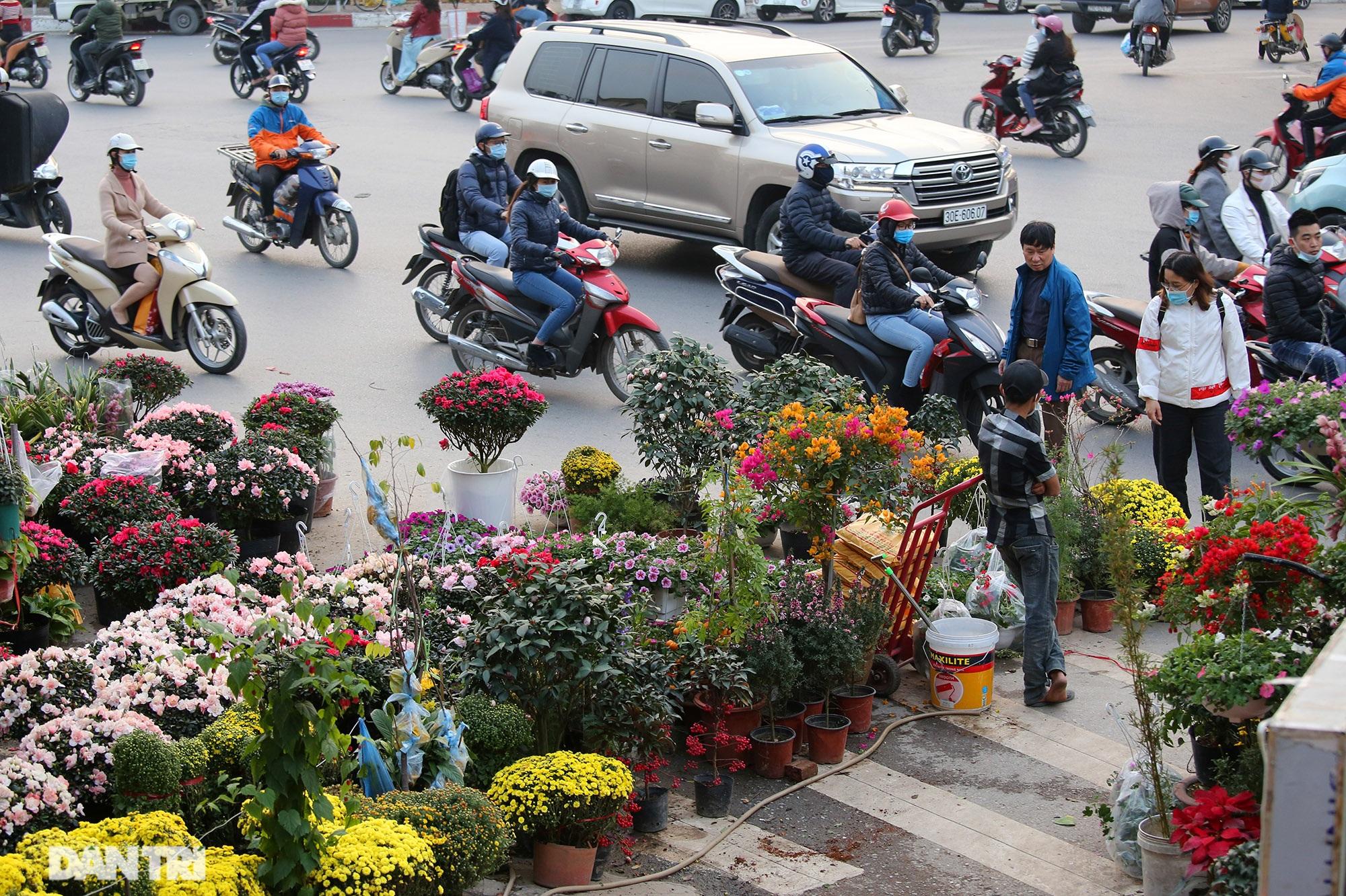 Chợ hoa bày bán trên đường phố Hà Nội đông khách bất chấp dịch Covid-19 - 5