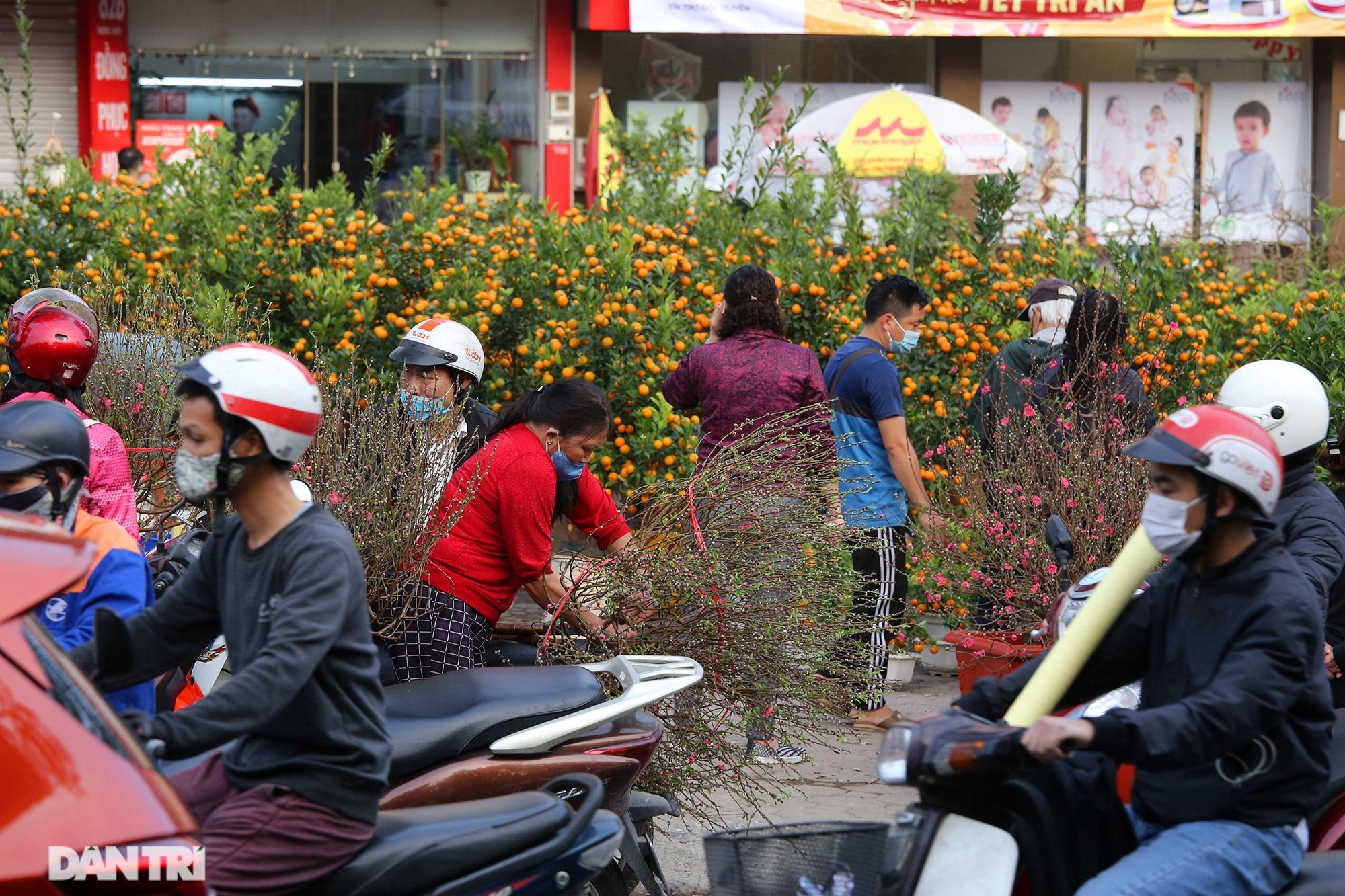 Chợ hoa bày bán trên đường phố Hà Nội đông khách bất chấp dịch Covid-19 - 7