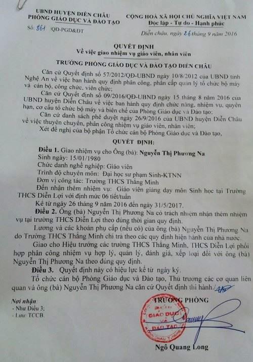 Trước tình trạng này, Phòng GD-ĐT huyện Diễn Châu đã điều động giáo viên môn Sinh ở Trường THCS Thắng Minh sang dạy mỗi tuần 6 tiết ở Trường THCS Diễn Lợi.