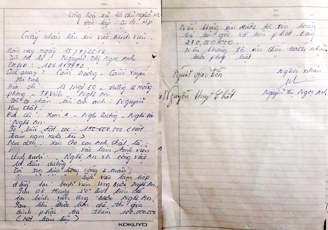 Giấy nhận tiền đặt cọc do Nguyễn Thị Ngọc Anh viết.