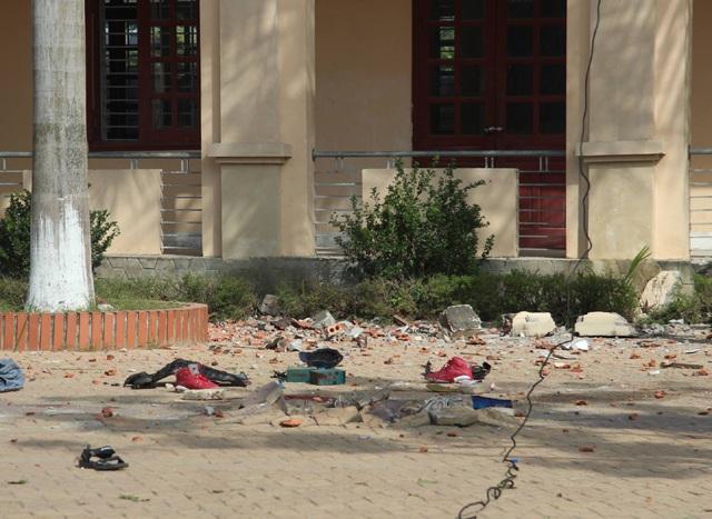 Hiện trường xảy ra cái chết thương tâm của học sinh Trần Văn Hải chiều ngày 14/11 (ảnh chụp sáng ngày 15/11).