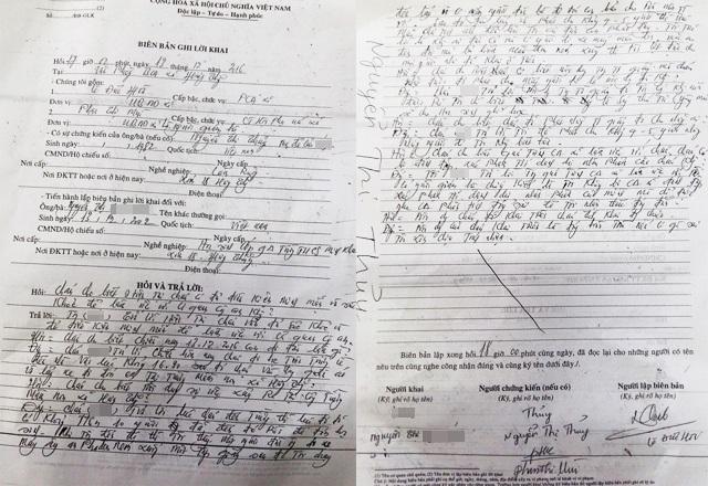 Biên bản ghi lời khai của Phó trưởng Công an xã Hưng Thắng đối với cháu Nguyễn Thị N.A, trong đó Chủ tịch Hội LHPN xã là người giám hộ, mẹ cháu A. là người chứng kiến.