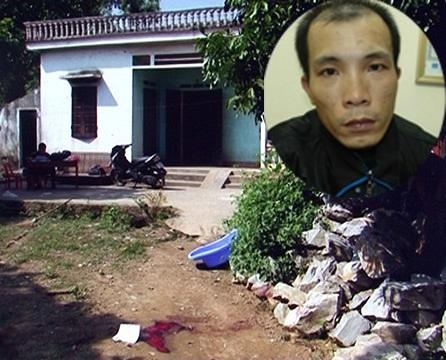 Hiện trường án mạng và kẻ sát nhân Đồng Quang Dũng (Ảnh ANTĐ).