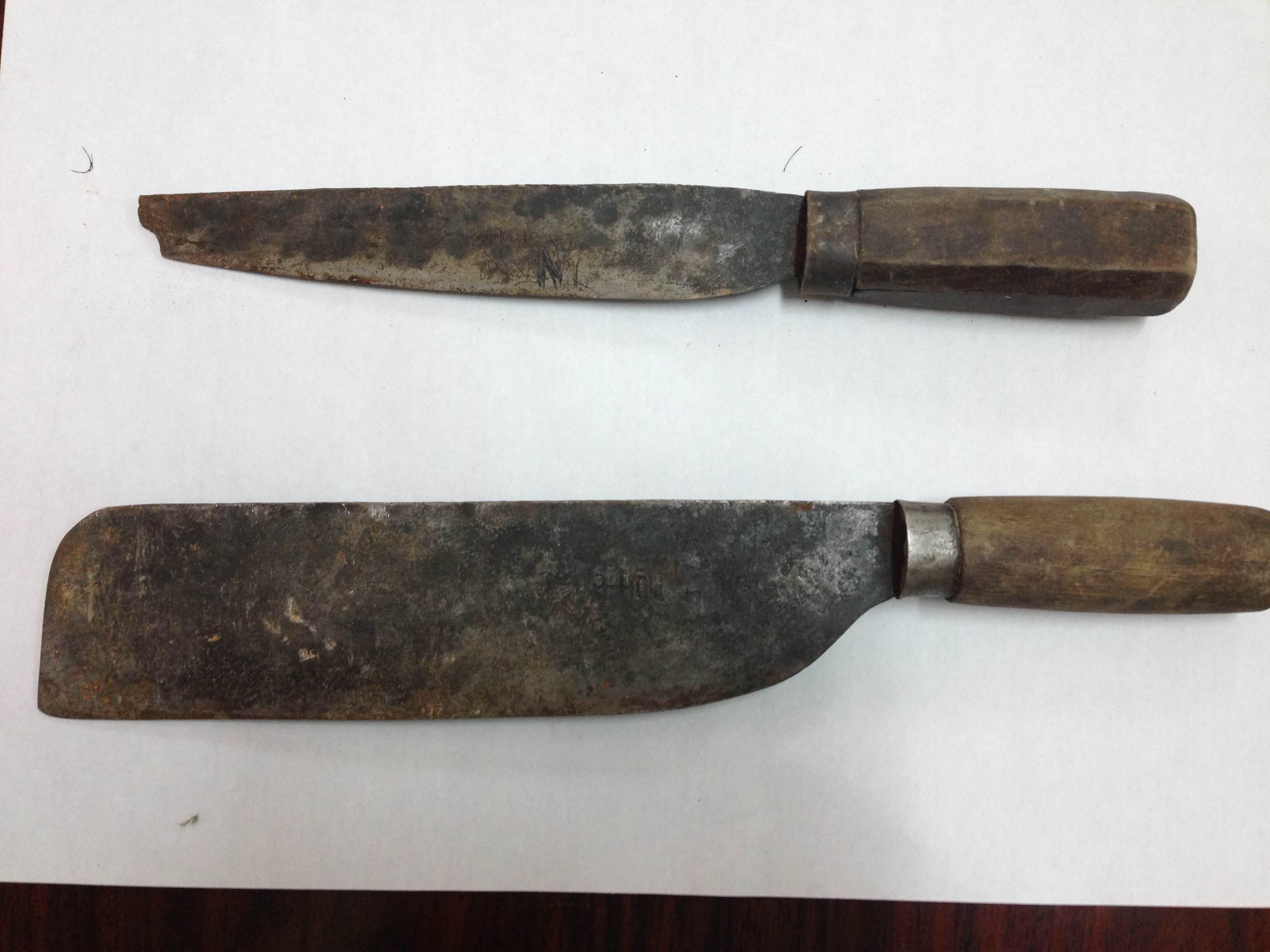 Tang vật vụ án con trai dùng dao giết chết bố đẻ tại tỉnh Lạng Sơn.