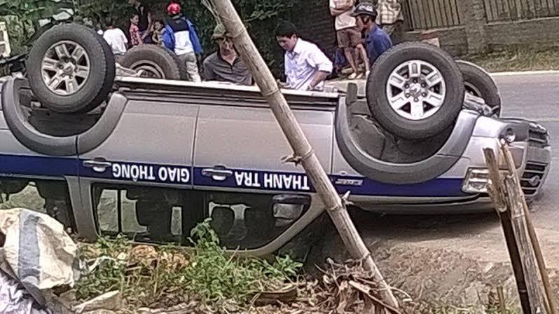 Hiện trường vụ tai nạn lật xe Thanh tra giao thông tỉnh Cao Bằng.