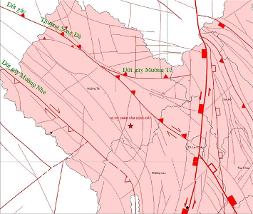 Bản đồ tâm chấn xảy ra trận động đất (Ảnh: Viện Vật lý địa cầu).