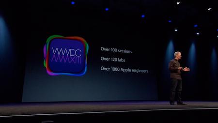 Tim Cook đang giới thiệu về sự kiện WWDC.