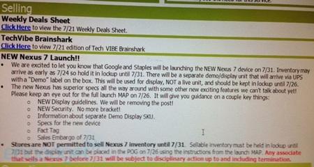 Kế hoạch bán hàng của Nexus 7 mới rò rỉ.