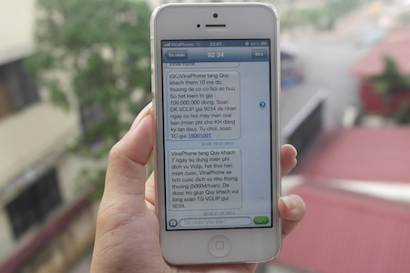 Tin nhắn của VinaPhone gửi tặng khách hàng dịch vụ Vclip.