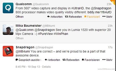 Đoạn tweet của Qualcomm về chiếc điện thoại Lumia 1520.