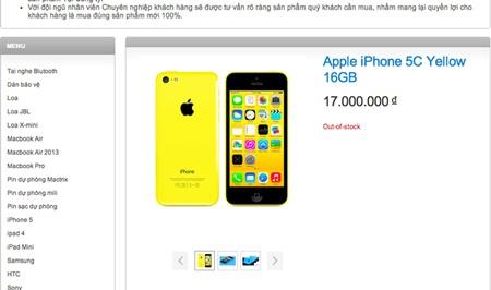 Giá chào bán iPhone 5C tại Việt Nam của một cửa hàng di động.