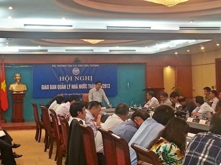 Bộ trưởng Nguyễn Bắc Son trong Hội nghị giao ban quản lý nhà nước tháng 10 tại Bộ TT&TT