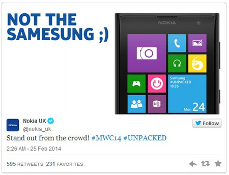 Đoạn Tweet của Nokia đả kích Galaxy S5 về thiết kế.