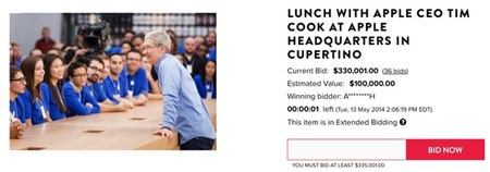 Một người đã chấp nhận bỏ 7 tỷ đồng để hẹn ăn trưa với CEO Tim Cook.