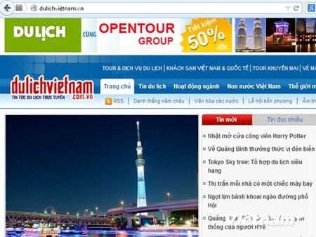 Ảnh chụp màn hình giao diện website dulịchviệtnam.vn