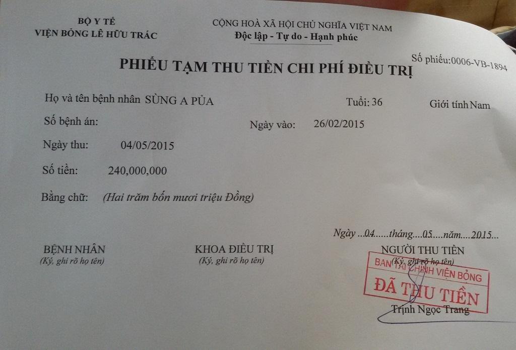 Ngay trong chiều 4.5, PV Dân trí đã nộp trực tiếp vào viện cho anh Pủa 240 triệu đồng.
