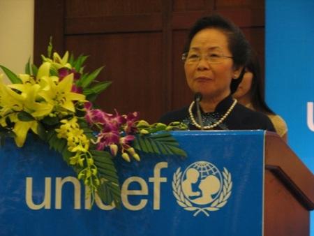Phó Chủ tịch nước Nguyễn Thị Doan phát biểu tại lễ công bố