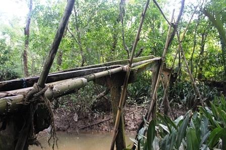 Cây cầu bị hư hỏng, xuống cấp nên được chắp vá bằng những thanh tre.