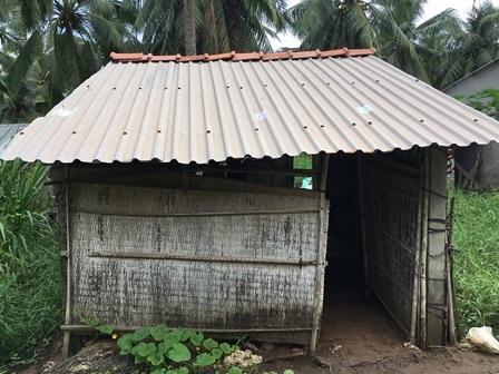 Căn nhà nhỏ ẩm thấp là nơi trú ngụ của 2 mẹ con