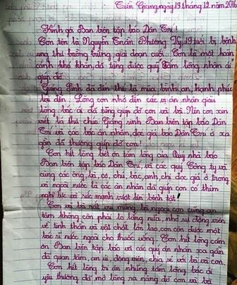 Bức thư cám ơn của em Vy gửi Ban biên tập báo Điện tử Dân trí trong dịp Giáng sinh