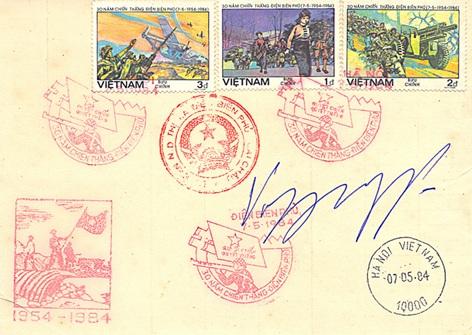 Phong bì thư kỷ niệm 30 năm chiến thắng Điện Biên Phủ trên có chữ ký lưu niệm của Đại tướng