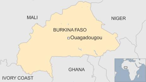 Vị trí địa lý của Burkina Faso.