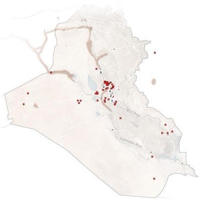 Vị trí vũ khí hóa học được tìm thấy ở Iraq do Wikileak công bố.