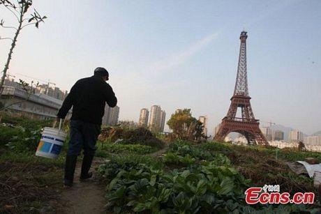Một người nông dân đi tưới rau gần công trình nhái Tháp Eiffel ở ngoạiôHàng Châu.