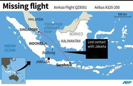 QZ8501 đã mất tích trên đường từ Indonesia đi Singapore.