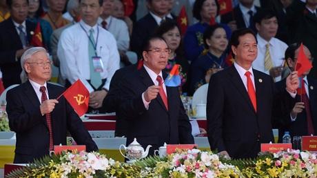 Các lãnh đạo đảng, nhà nước, chính phủ tham dự buổi lễ.