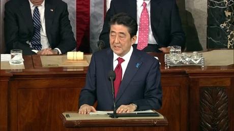 Thủ tướng Abe phát biểu trước quốc hội Mỹ (Ảnh: