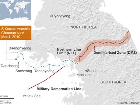 Vị trí tàu Cheonan bị đánh chìm (Đồ họa: