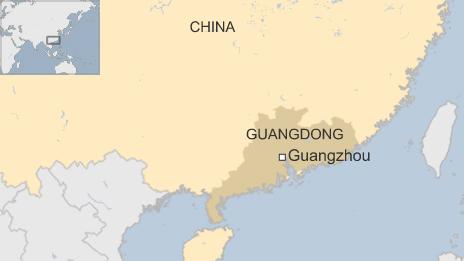 Vụ tấn công hôm nay xảy ra tại nhà ga ở thành phố Quảng Châu, tỉnh Quảng Đông (Đồ họa: