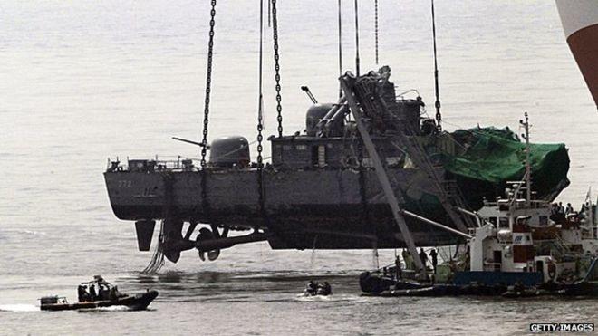 Tàu chiến Cheonan của Hàn Quốc bị đánh chìm tháng 3/3010, làm 46 thủy thủ thiệt mạng (Ảnh: