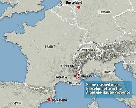 Máy bay bị rơi gần Barcelonnette (Đồ họa: