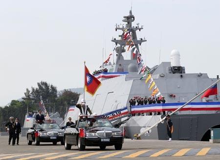 Lễ biên chế 2 tàu hải quân mới tại Cao Hùng ngày 31/3. (Ảnh: