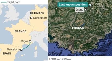 Máy bay cất cánh từBarcelona vàrơi trên lãnh thổ Pháp (Ảnh: