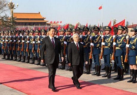 Hình ảnh lễ đón Tổng bí thư Nguyễn Phú Trọng trên báo chí Trung Quốc