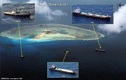 Các tàu của Trung Quốc bao vây trái phép bãi đá Gaven nhìn từ trên cao.