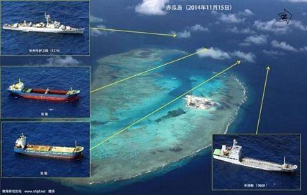 Các tàu của Trung Quốc xuất hiện gần bãi đá Gạc Ma.
