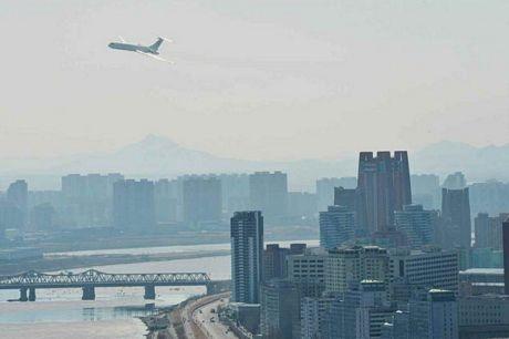 Dự án xây dựng tại Bình Nhưỡng chụp từ máy bay của nhà lãnh đạo Triều Tiên.
