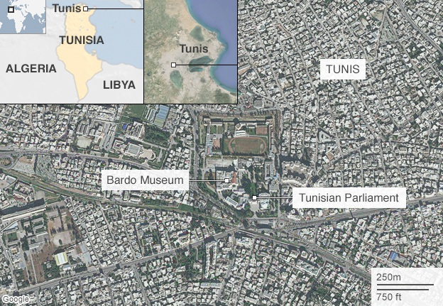 Bảo tàng Bardo nằm gần tòa nhà quốc hội Tunisia (Đồ họa: