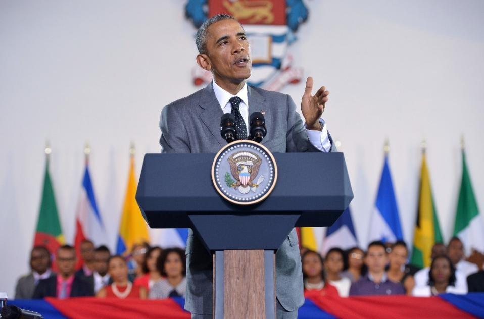 Ông Obama phát biểu tại một sự kiện ở Jamaica ngày 9/4 (Ảnh: