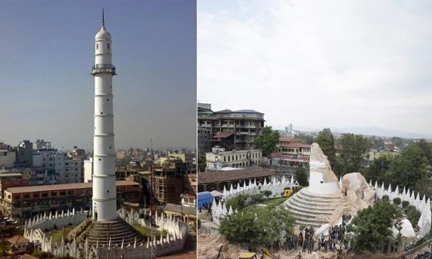 Một tòa tháp nổi tiếng tại Kathmandu bị phá hủy (Ảnh: Guardian)