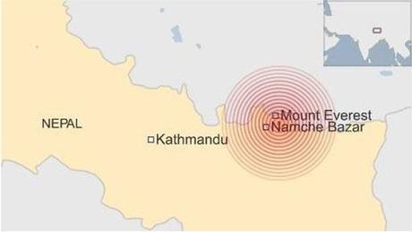 Tâm chấn của động đất gần núi Everest (Đồ họa: