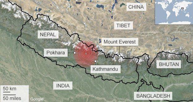 Bản đồ động đất tại Nepal (Đồ họa: BBC)
