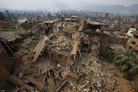 Một khu vực bị tàn phá tại Bhaktapur gần Kathmandu
