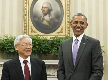 Tổng thống Hoa Kỳ tiếp Tổng Bí thư tại phòng Bầu dục