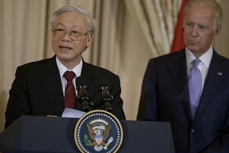 ... và Tổng Bí thư Nguyễn Phú Trọng đã có các bài phát biểu ngắn tại tiệc chiêu đãi chính thức.