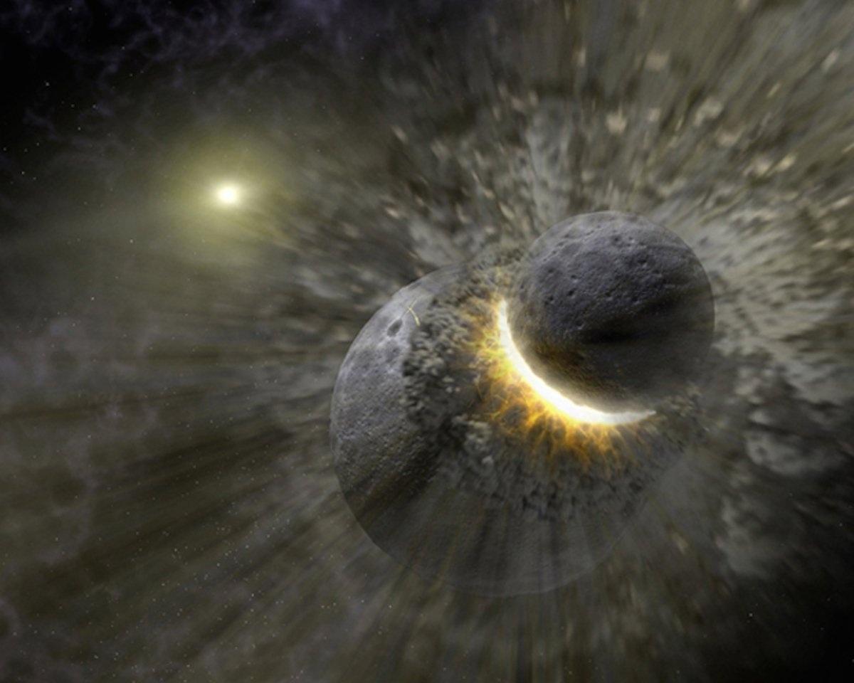 Đây không phải là một nhận định không có cơ sở. Đến nay người ta vẫn tin rằng Mặt Trăng đã được hình thành do một vụ va chạm dữ dội của một hành tinh có tên Theia với bề mặt Trái Đất khoảng 4,5 tỷ năm trước. Trái Đất khi ấy có lẽ có kích thước và khối lượng tương đương với Sao Hỏa.